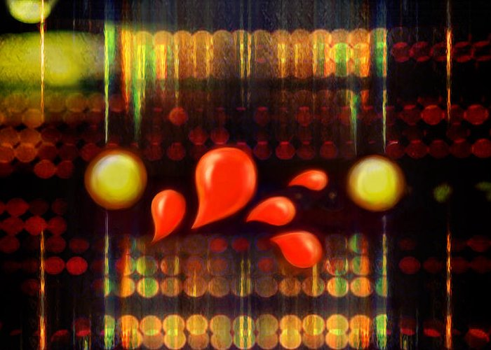 Abstract Greeting Card featuring the digital art Lights_bleed by Scott Smith