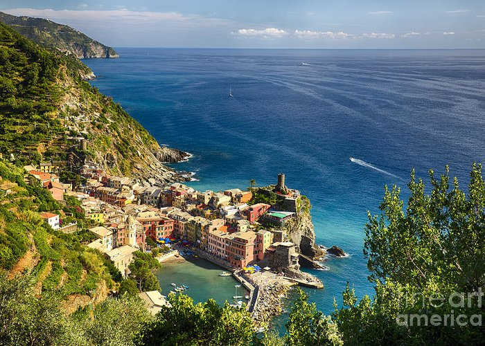 Cinque Terre Greeting Card featuring the photograph Ligurian Coast View At Vernazza by George Oze