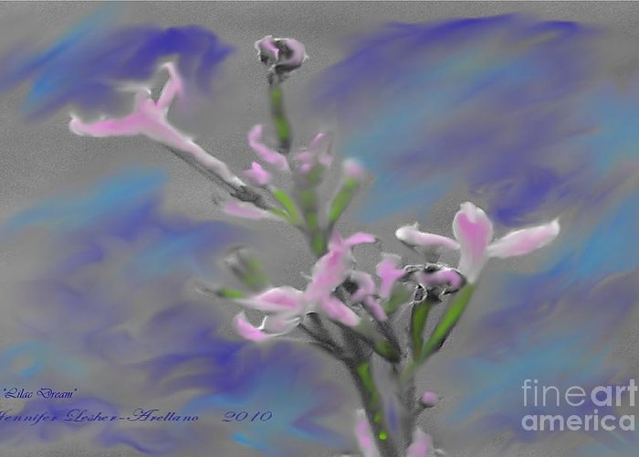 Lilac Greeting Card featuring the digital art Lilac Dream by Jennifer Lesher - Arellano