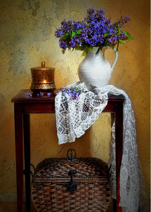 Still Life Greeting Card featuring the photograph Lilacs And Lace by Diana Angstadt
