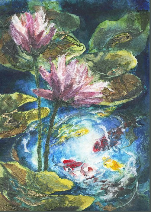 Watercolor Greeting Card featuring the painting Lilies #2 by Connie Ely McClure