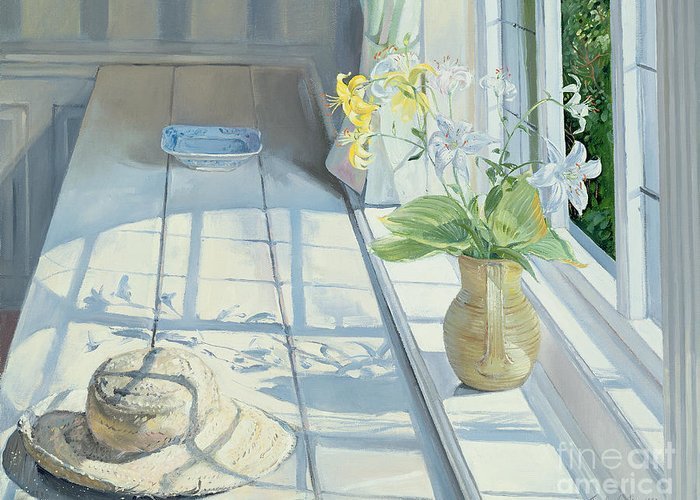 Window Greeting Card featuring the painting Lilies And A Straw Hat by Timothy Easton