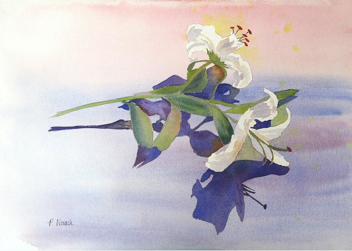 Lily Greeting Card featuring the painting Lilies At Rest by Patricia Novack