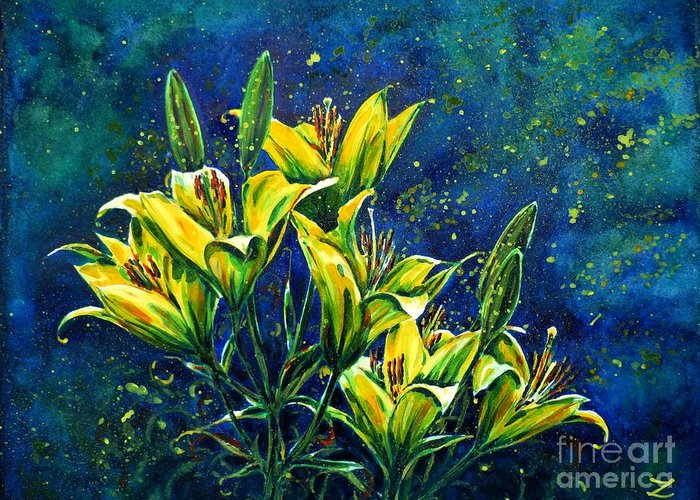 Lilies Greeting Card featuring the painting Lilies by Zaira Dzhaubaeva