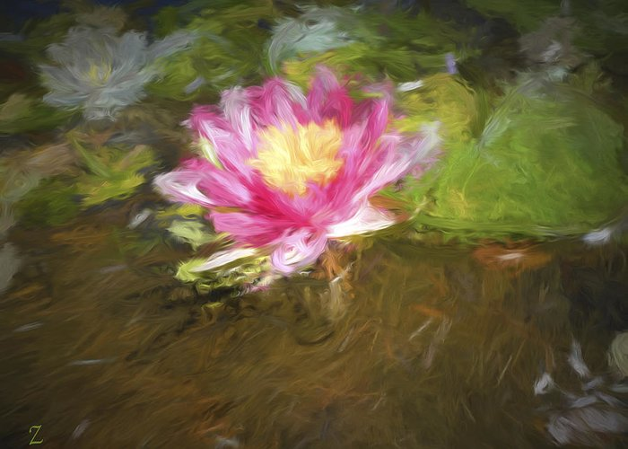 Lily Greeting Card featuring the painting Lily Impression by Joel Zimmerman