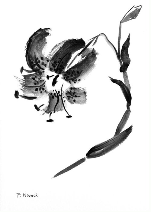 Lily Greeting Card featuring the painting Lily In Black by Patricia Novack