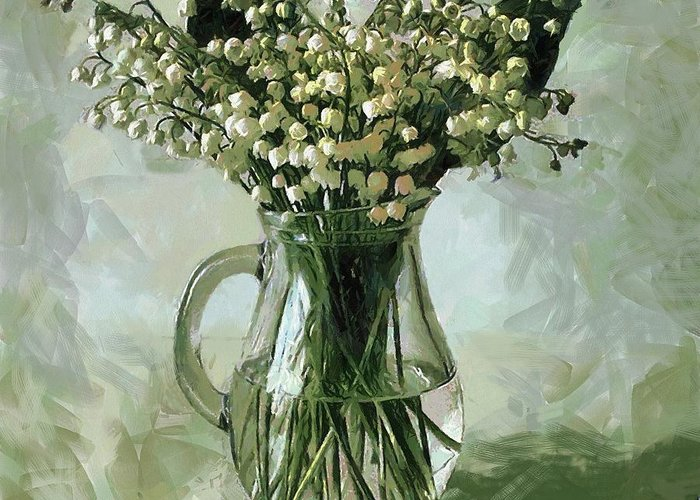 Fine Art Print Greeting Card featuring the painting Lily Of The Valley by Vasiliy Agapov