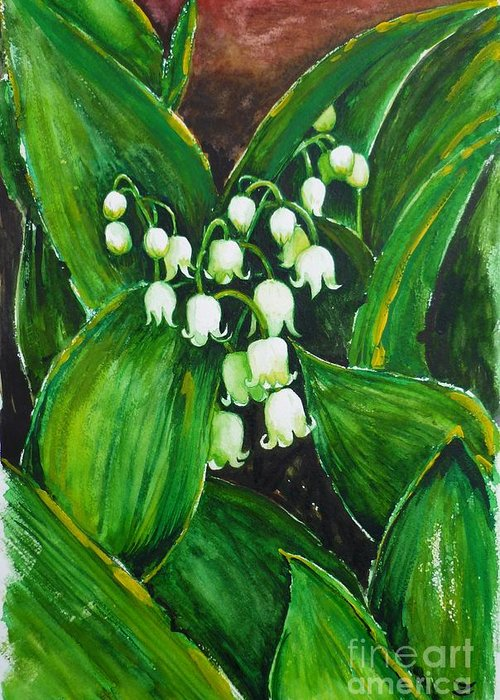 Lily Of The Valley Greeting Card featuring the painting Lily Of The Valley by Zaira Dzhaubaeva
