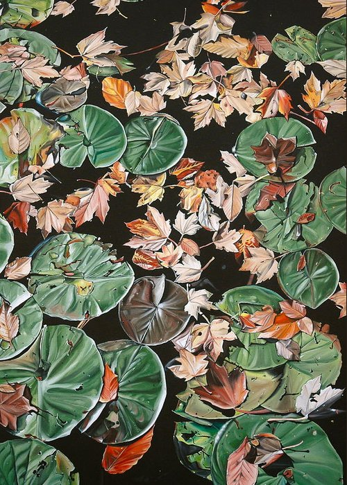 Lily Pads Greeting Card featuring the painting Lily Pads And Leaves by Anthony Mezza