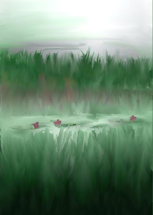 Lily Pads Art Prints Greeting Card featuring the digital art Lily Pads by Jessica Wright