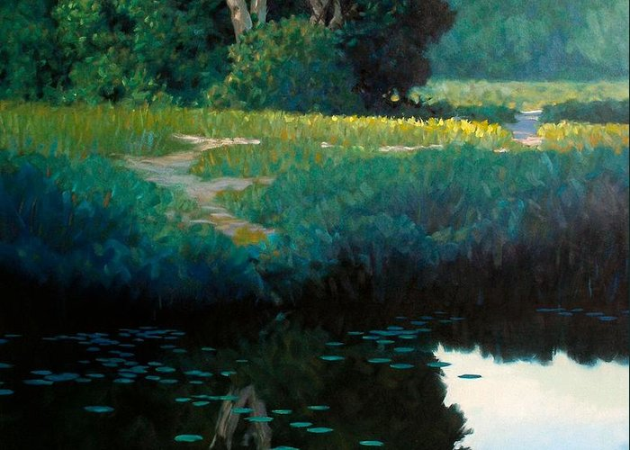 Landscape Greeting Card featuring the painting Lily Pads by Kevin Lawrence Leveque