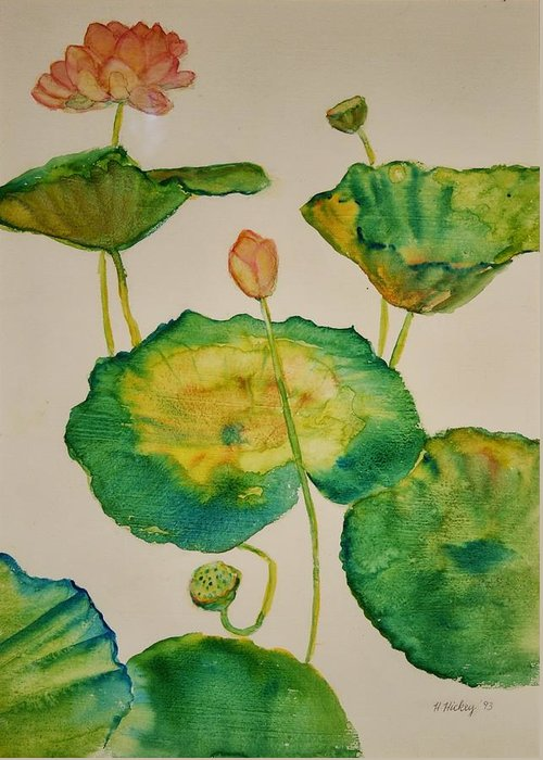 Greeting Card featuring the painting Lilypads 1 by Helen Hickey