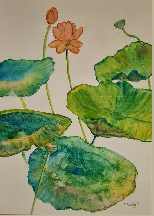 Greeting Card featuring the painting Lilypads 2 by Helen Hickey