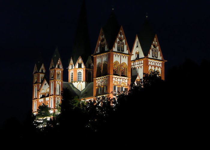 Limburg Greeting Card featuring the photograph Limburg Cathedral At Night by Jenny Setchell