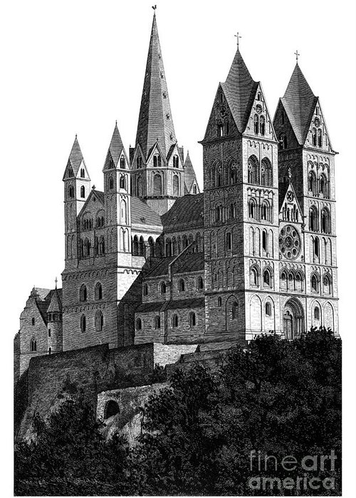 Black And White Greeting Card featuring the mixed media Limburg Cathedral Beautiful Detailed Woodblock Print by Christos Georghiou