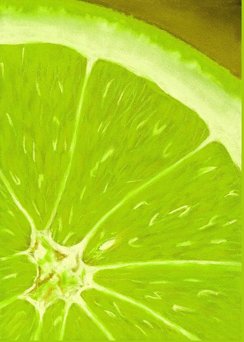 Malakhova Greeting Card featuring the painting Lime by Anastasiya Malakhova
