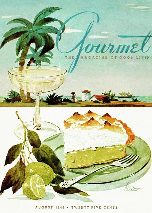 Food Greeting Card featuring the photograph Lime Meringue Pie With Champagne by Henry Stahlhut