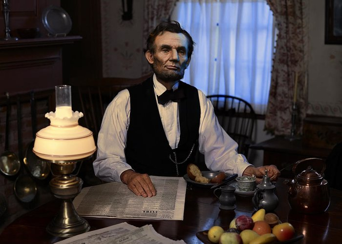 Abraham Lincoln Greeting Card featuring the digital art Lincoln At Breakfast 2 by Ray Downing