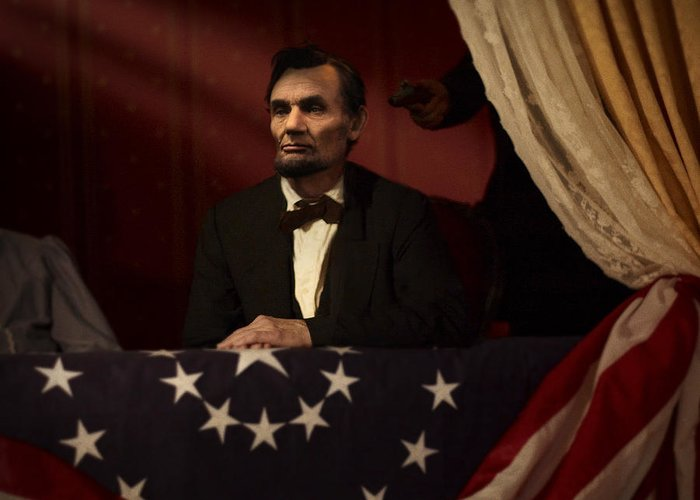 Abraham Lincoln Greeting Card featuring the digital art Lincoln At Fords Theater 2 by Ray Downing