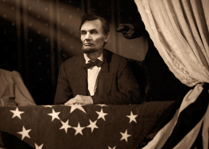 Abraham Lincoln Greeting Card featuring the digital art Lincoln At Fords Theater by Ray Downing