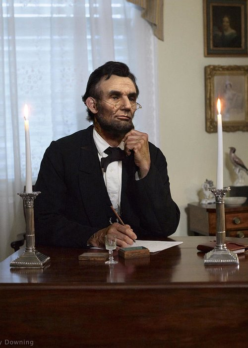 Abraham Lincoln Greeting Card featuring the digital art Lincoln At His Desk 2 by Ray Downing