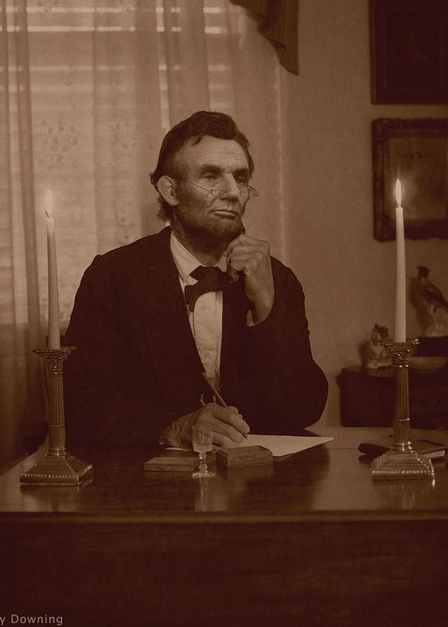 Abraham Lincoln Greeting Card featuring the digital art Lincoln At His Desk by Ray Downing