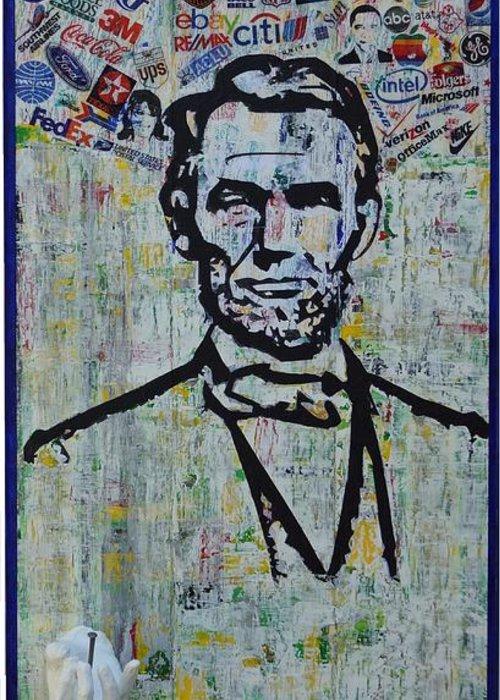 Abraham Lincoln American President Greeting Card featuring the painting Lincoln- Hawaii by Alireza Vazirabadi