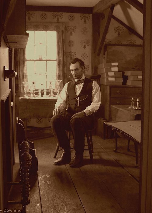 Abraham Lincoln Greeting Card featuring the digital art Lincoln In The Attic by Ray Downing