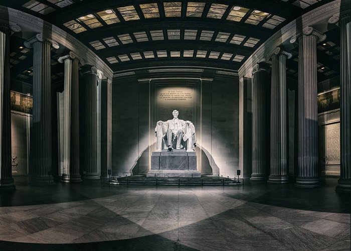 America Greeting Card featuring the photograph Lincoln Memorial by Eduard Moldoveanu