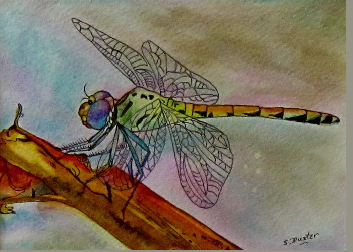 Dragonfly Greeting Card featuring the painting Linda by Susan Duxter