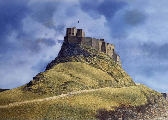 Landscape Greeting Card featuring the painting Lindisfarne Castle by Tom Wooldridge