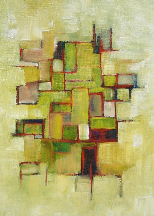 Abstract Greeting Card featuring the painting Line Series Yellow Green Red by Patricia Cleasby