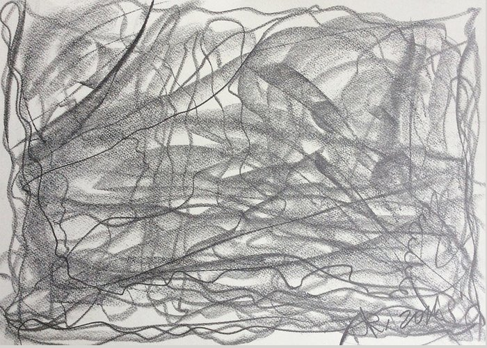 Abstract Greeting Card featuring the drawing Linear Space by Arthur Right