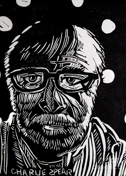 Auto-portrait Greeting Card featuring the relief Lino Cut Charlie Spear by Charlie Spear