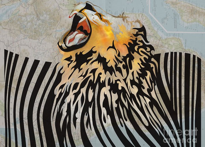 Lion Greeting Card featuring the digital art Lion Barcode by Sassan Filsoof
