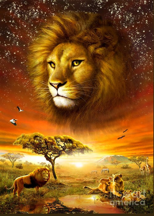 Adrian Chesterman Greeting Card featuring the digital art Lion Dawn by Adrian Chesterman