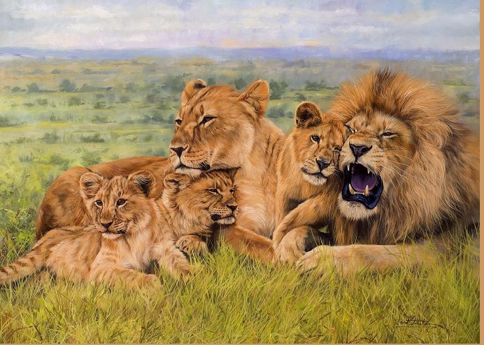 Lion Greeting Card featuring the painting Lion Family by David Stribbling