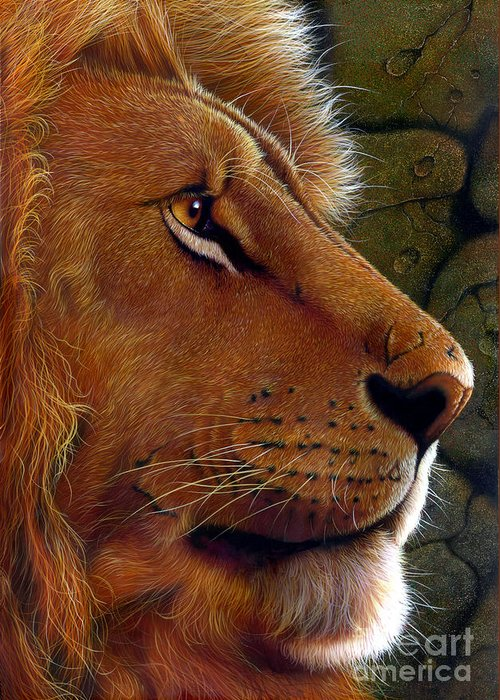 Lion King Greeting Card featuring the painting Lion King by Jurek Zamoyski