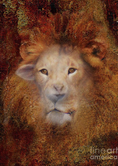 Lion Greeting Card featuring the digital art Lion Lamb Face by Constance Woods