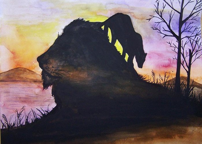 Lion Greeting Card featuring the painting Lion by Laneea Tolley