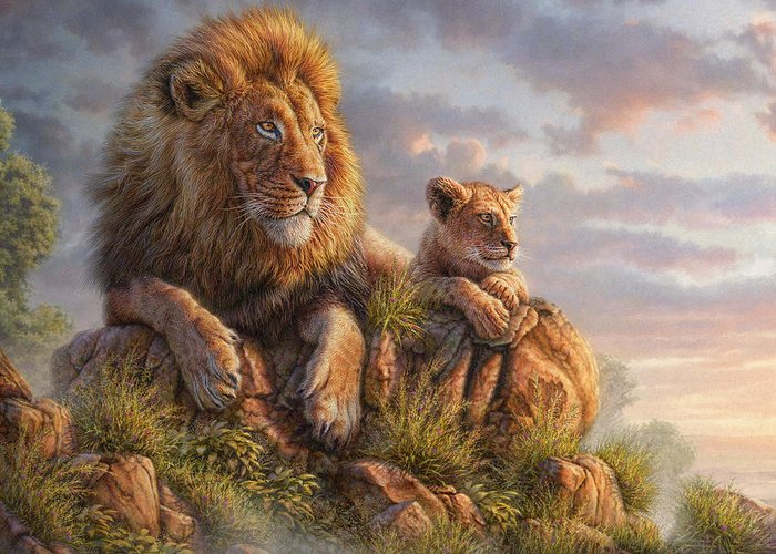 Lion Greeting Card featuring the mixed media Lion Pride by Phil Jaeger