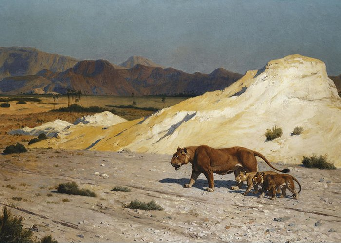 Academic Greeting Card featuring the painting Lioness And Cubs by Jean Leon Gerome