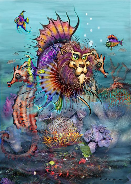 Lionfish Greeting Card featuring the painting Lionfish by Kevin Middleton
