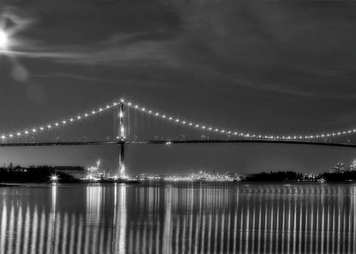 Lions Gate Bridge Greeting Card featuring the photograph Lions Gate Bridge Black And White by Naman Imagery