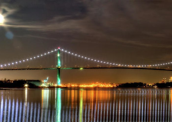 Lions Gate Bridge Greeting Card featuring the photograph Lions Gate Bridge In Colour by Naman Imagery