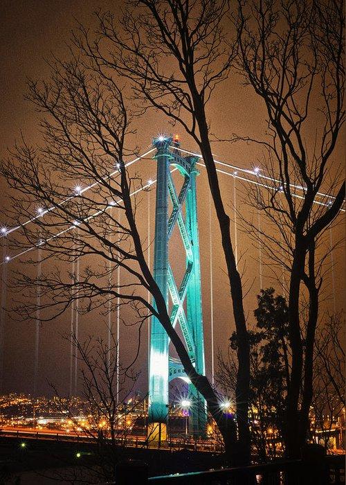 Lions Gate Bridge Greeting Card featuring the photograph Lions Gate Bridge by Jorge Ligason