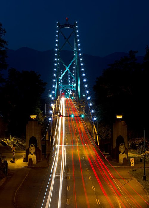 Bridge Greeting Card featuring the photograph Lions Gate Bridge Traffic by Michael Russell