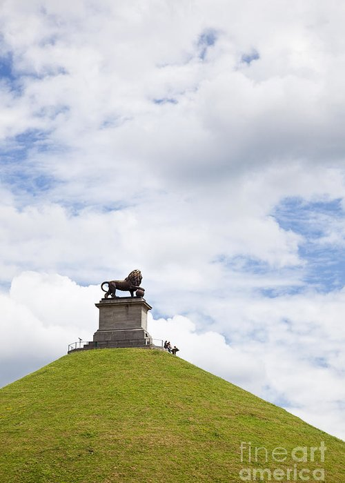 Battle Greeting Card featuring the photograph Lions Mound Memorial To The Battle Of Waterlooat Waterloo Belgium Europe by Jon Boyes