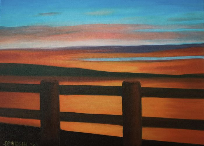 Seascape Greeting Card featuring the painting Lipstick Sunset by Stephen Degan