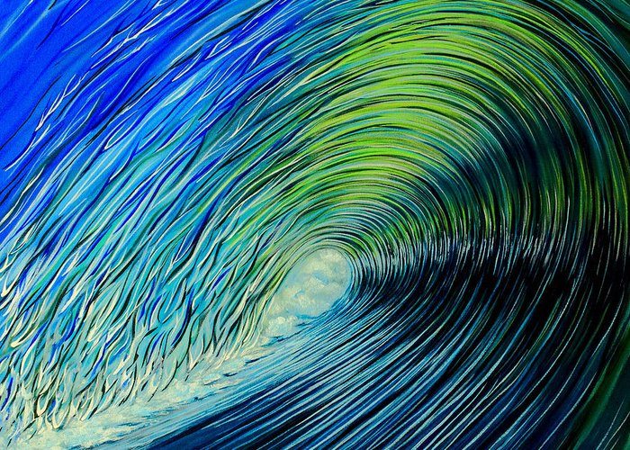 Surf Greeting Card featuring the painting Liquid Courage by Marty Calabrese